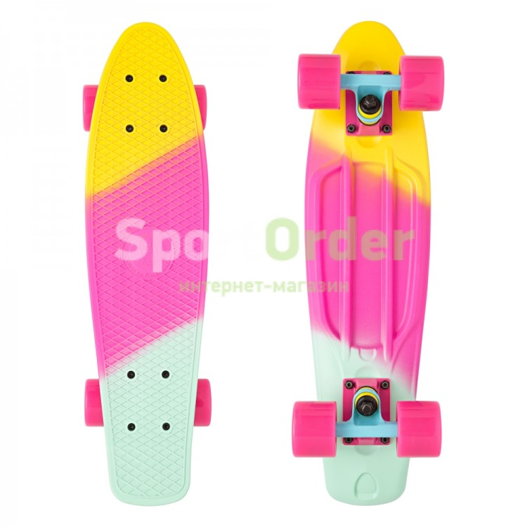 "Лонгборд Lboard multi 22"" yellow/pink/blue -